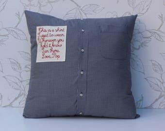 Shirt Keepsake Cushion, Men's Buttoned Shirt Remembrance Cushion, Man's Shirt Pillow, Embroidered Patch Cushion, Memory Pillow