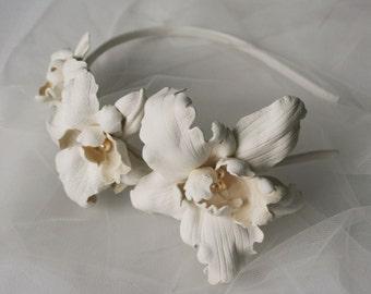 Ivory Leather Orchids Flower Headband Headpiece