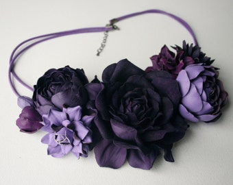 Violet/purple/lilac leather floral bib necklace - Made to Order