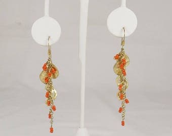 Matte Gold Tone and Orange Seed Bead Dangles