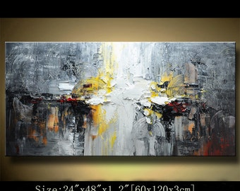 contemporary wall art,, Modern Textured Painting,Impasto  Landscape  Textured Modern Palette Knife Painting,Painting on Canvas by Chen 0217