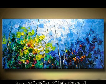 contemporary wall art, Palette Knife Painting,colorful tree painting,wall decor , Home Decor,Acrylic Textured Painting ON Canvas by Chen 508