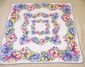 Vintage Linen Floral Hanky Blue Pink & Yellow