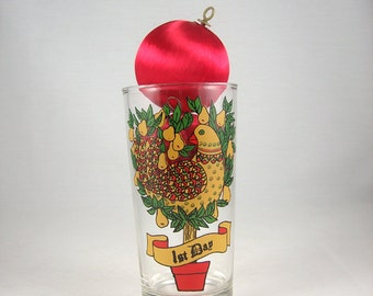 Vintage Partridge in Pear Tree Drinking Glass, Christmas Decor, Mid Century Holiday
