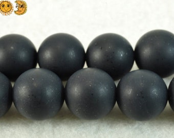15 inch strand of natural Black Onyx frosted matte round beads 4mm 6mm 8mm 10mm 12mm 14mm