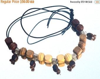 SALE 60% OFF Tigers Eye Wood Beads Genuine Leather Fringe Artisan Pendant Chain Necklace One of a Kind Gemstone Boho Hippie Gypsy Burning Ma