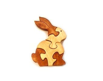 Wooden Puzzle Bunny. Easter bunny. Kids toy. Puzzle toy.