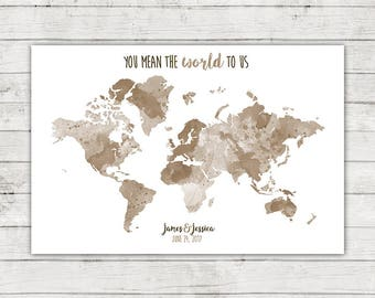You Mean The World To Us Wedding Guest Book Alternative World Map, Digital File, Rustic Travel Themed Destination Wedding, Watercolor
