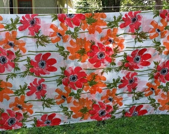 Vintage Vera Flat Sheet -- Red and Orange Poppies -- Burlington, Percale, 81 x 98 inches, Full or Queen Size Bed, Yardage for Project