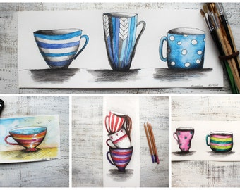 "Custom cup portrait, original mug watercolor painting 5x8"" watercolor kitchen wall art housewarming memory"