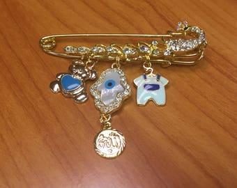 Stroller Pin Baby Pin Allah Gift Muslim Gift Hamsa Gift Chamsa Hand of Fatima New Baby Boy Teddy Bear