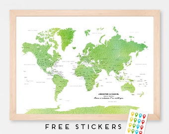 Custom World Map Green Watercolor - Political Art Print Map Poster - USA and Canada States