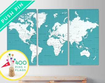 Canvas World Map Push Pin Map Large Size Ocean Color - Set 3 CANVAS - Countries, Capitals, USA, CANADA states - 240 Pins + 198 Stickers