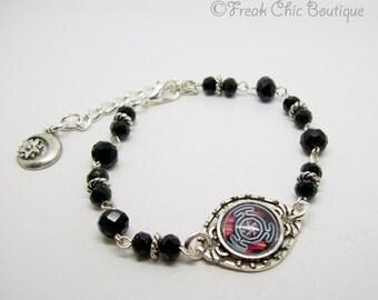 Wheel of Hecate Symbol Bracelet, Crystal Bracelet, Pagan Jewellery, Goddess