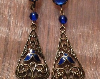 Vauxhall Blue Earrings 1920 1930 Vintage Bridal Wedding RARE Art Deco Enamel Filigree