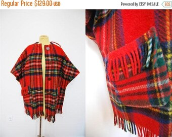 Bringing Home Baby SALE: Vintage Plaid Tartan Wool Tassel Sleeved Cape Jacket Coat Red Black Wood Buttons Fringe