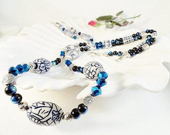 Blue White Necklace, Long Necklace, Blue Necklace, Asian Inspired, Floral Necklace, Handmade Necklace, Long Earrings, Gift, JewelryByPJ