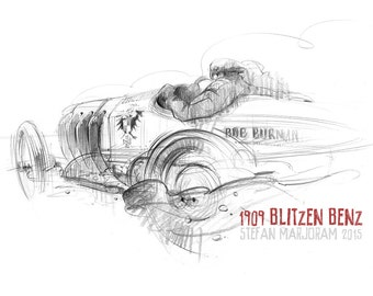 Blitzen Benz - Original A3 Pencil Sketch