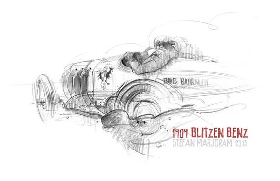 Blitzen Benz - Original A3 Pencil Sketch
