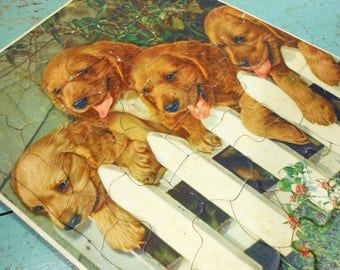 Vintage Puppies on White Picket Fence Tray Puzzle from Walzer, Puppy Puzzle