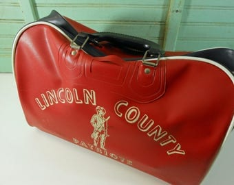 Vintage High School Gym Bag, Lincoln County Patriots Sports Bag, Red and Navy Blue Duffel