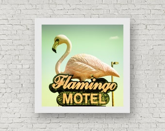 Flamingo Motel - Vintage Neon Sign Photography Print - square photo