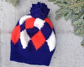 Bold Blues Graphic Wool Pom-Pom Beanie Winter Hat - from reclaimed materials