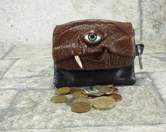 Leather Zippered Change Purse Brown Black Coin Purse Monster Face Pouch Key Ring Harry Potter Labyrinth