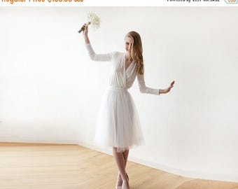 30% OFF - Blush Birthday Ivory midi length tulle dress with long sleeves , Reception ivory tulle midi dress 1068