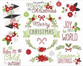 Clipart - Christmas Flowers / Wreath Designer Kit / Xmas - Digital Clip Art (Instant Download)