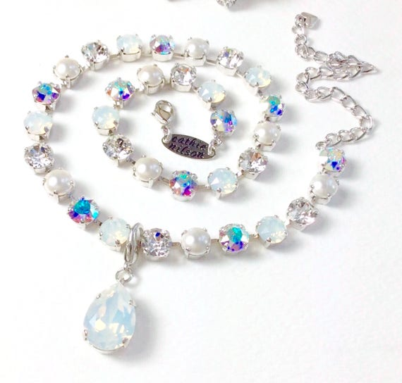 """Swarovski Crystal 8.5mm Necklace """"Bridal Whites"""" with Pearls - White Opal, AB, Crystal & Pearls - Designer Inspired - FREE SHIPPING"""