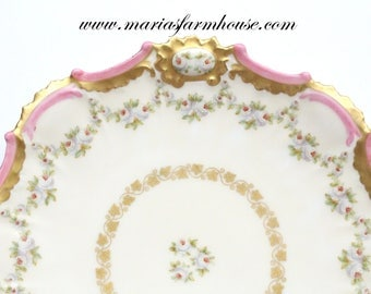19th Century, Antique, Elegant Cabinet Plate, Hand Painted, Decorative Plate by Limoges, France, Wedding Table - c. 1800 - 1920