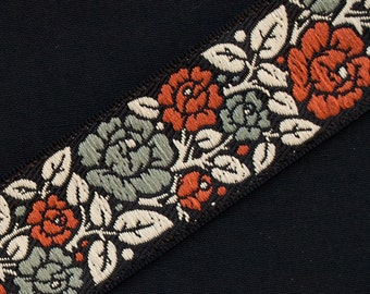 """Historic Arts & Crafts Style Wide Jacquard Trim Autumn Flowers  Vines On Black 3 yards 1.25 """" wide"""