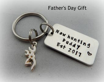 New hunting buddy Est with Birth Year - Hand Stamped Keychain - New Dad Gift - Grandpa - Hunting Keychain - Father's Day - Pregnancy Reveal