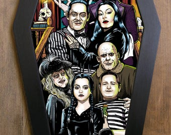 The Addams Family coffin framed print.