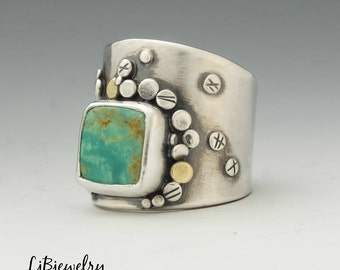 Turquoise Ring, Turquoise Jewelry, Sterling Silver, 18k Gold, Handmade, Metalsmith, Metalwork, Statement Ring, Saddle Ring, Artisan Jewelry