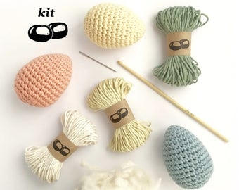 Egg Crochet Kit / DIY Kit / Eco-friendly Craft Kit / Simple Crochet Pattern / Simple Amigurumi / Easter Eggs