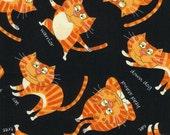 Yoga Cats - Orange and Black - Timeless Treasures