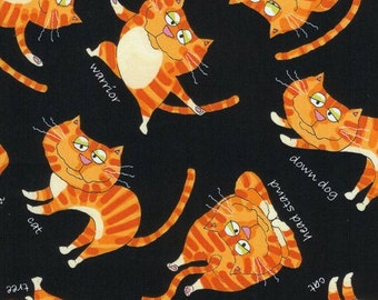 Yoga Cats - Orange and Black - Timeless Treasures