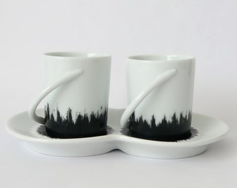 Coffee cups for one saucer in fine porcelain, urban chic, perfect gift for couple,fancy and romantic,made in france