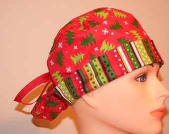 Red Tree Christmas Print Pony Tail Style Surgical Hat