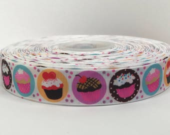 "7/8"" Cupcakes Grosgrain Ribbon"