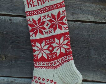 Christmas Stocking Personalized Hand knit Wool Stocking Red White  with  Snowflakes