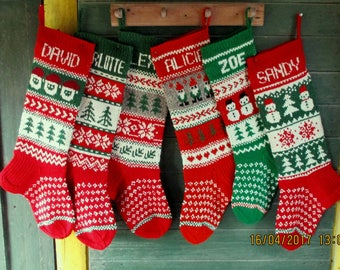 Christmas Stocking Personalized Wool Hand knit Cranberry Red Green Grey White Deer Snowmen Santa Gnomes Snowflake decoration gift