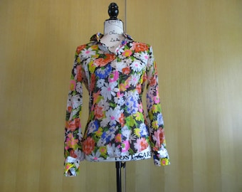 1970s Emily Just Emily Floral Blouse Size Small