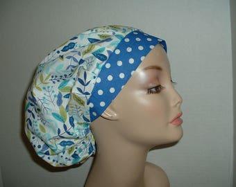 Flowers Aqua Turquoise Blue Bouffant OR Scrub hat Surgical cap
