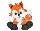 Zoo Baby FoxApplique Machine Embroidery Design Woodland Boy Girl Cute animal INSTANT DOWNLOAD