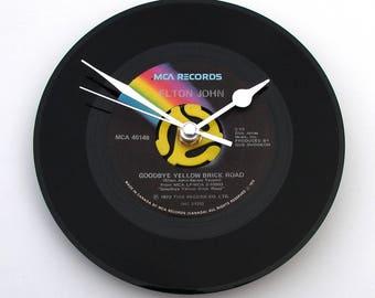"Elton John Record Clock, "" Goodbye Yellow Brick Road "", recycled Vinyl CLOCK, 7"" single, WIzard of Oz, Elton fans, black and yellow"