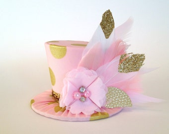 Mini Top Hat Headband, 1st Birthday, Pink & Gold, Tea Party, Sparkle Birthday, Circus Costume, Photo Prop, Cake Smash, Pageant, MSC-010
