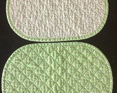 Vintage CELERY Green Quilted Placemats / Green And White Polka Dot REVERSIBLE Placemats / White And Green Fabric Dinner Mats / Set Of 4